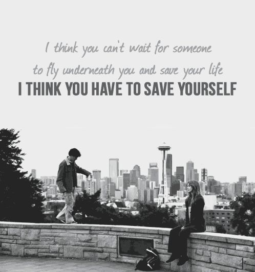 """""""I think you can't wait for someone to fly underneath you and save your life. I think you have to save yourself"""" Grey's Anatomy quotes"""