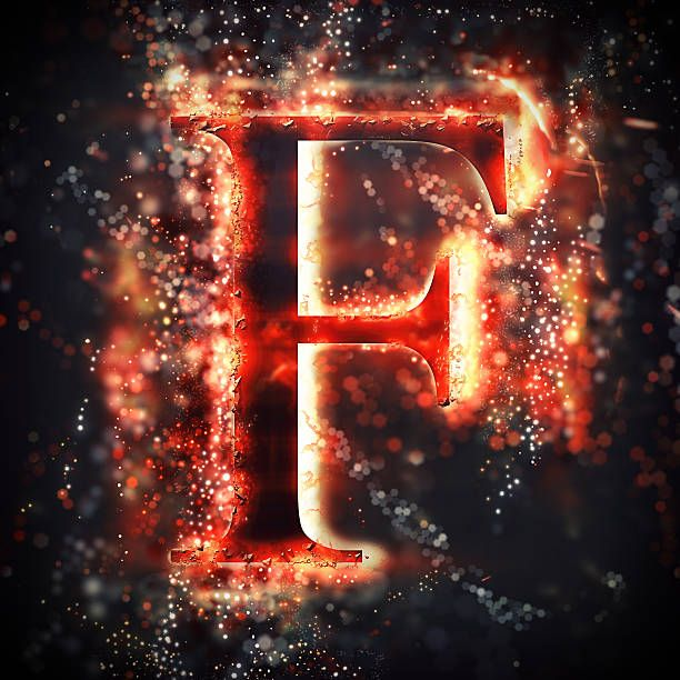 Buchstabe Letter F Lettering Design Glow Birthday Typography Letters
