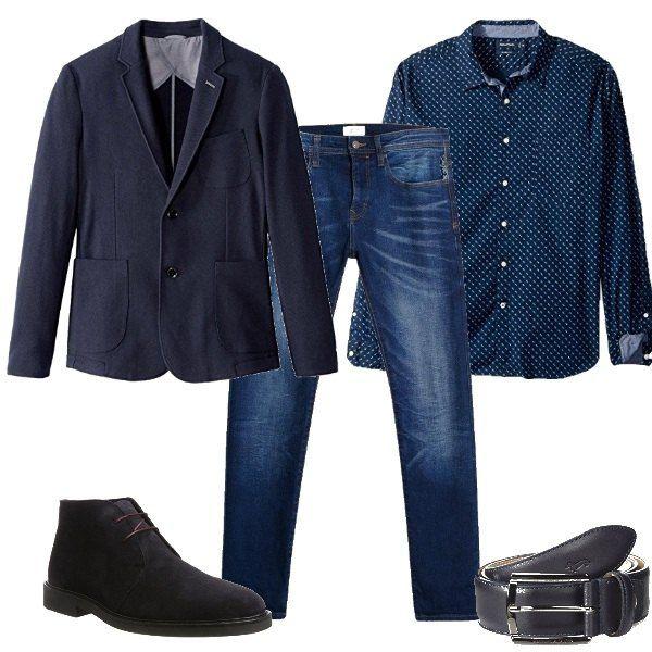 newest ed318 67629 Outfit composto da camicia blu con microfantasia bianca ...
