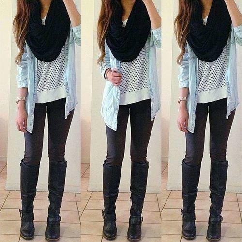 Denim shirt. Striped shirt. Leggings. Chunky black scarf. Black boots.
