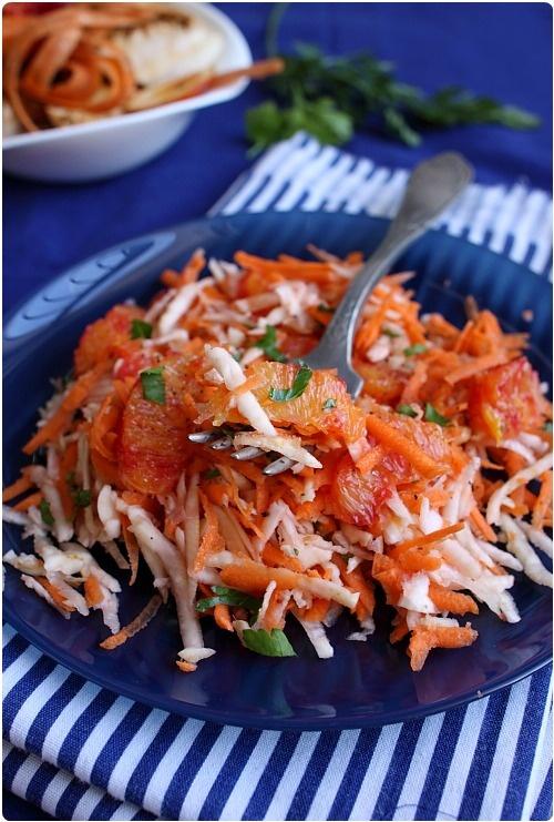 Salade de carottes, céleri rave et orange sanguine