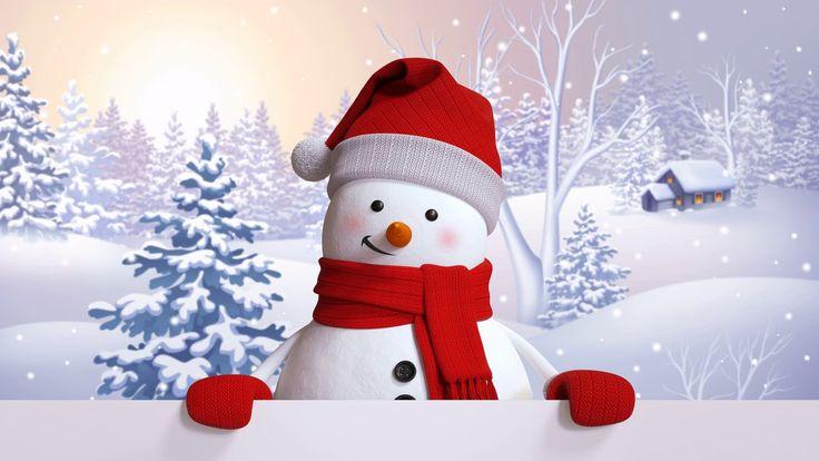 Картинка зима. Snowman, happy, snow, winter, снеговик ...