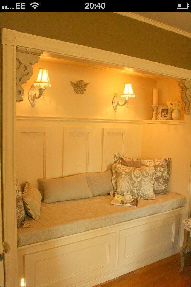 Cozy seating with intimate lighting made out of a converted closet