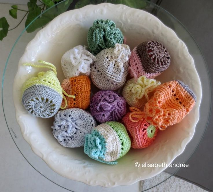 Crocheted in bride's colors for shower favors.  Fill with candy, homemade soap, herbs, stretchy bead bracelet, or lip balm.