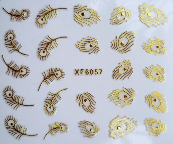 Find More Stickers & Decals Information about Hot Sale New Flower Pattern Water Transfer Nail Art Stickers Decals Nail Tips Gold Peacock Feather  XF6057,High Quality feather,China feather hook Suppliers, Cheap feather mail from Lady Nail on Aliexpress.com