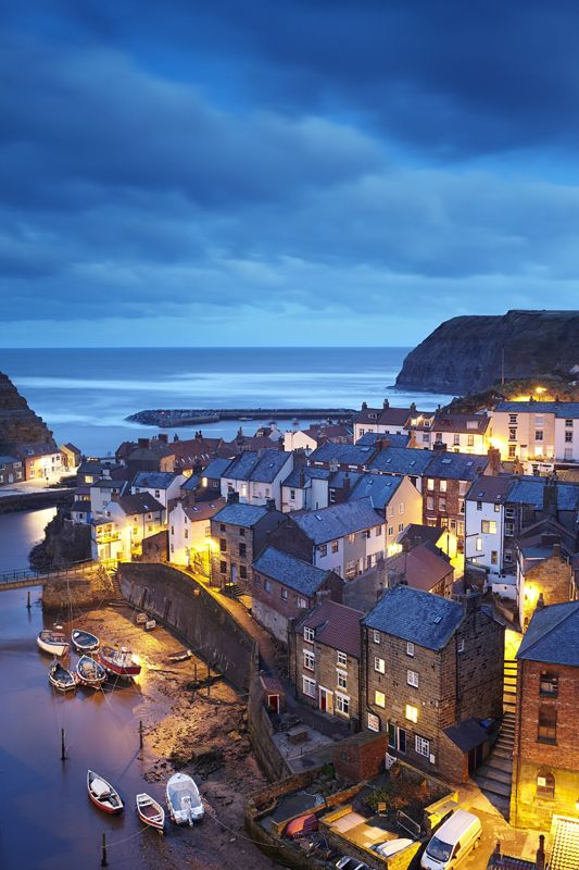 Staithes at Twilight - Yorkshire Coast, England