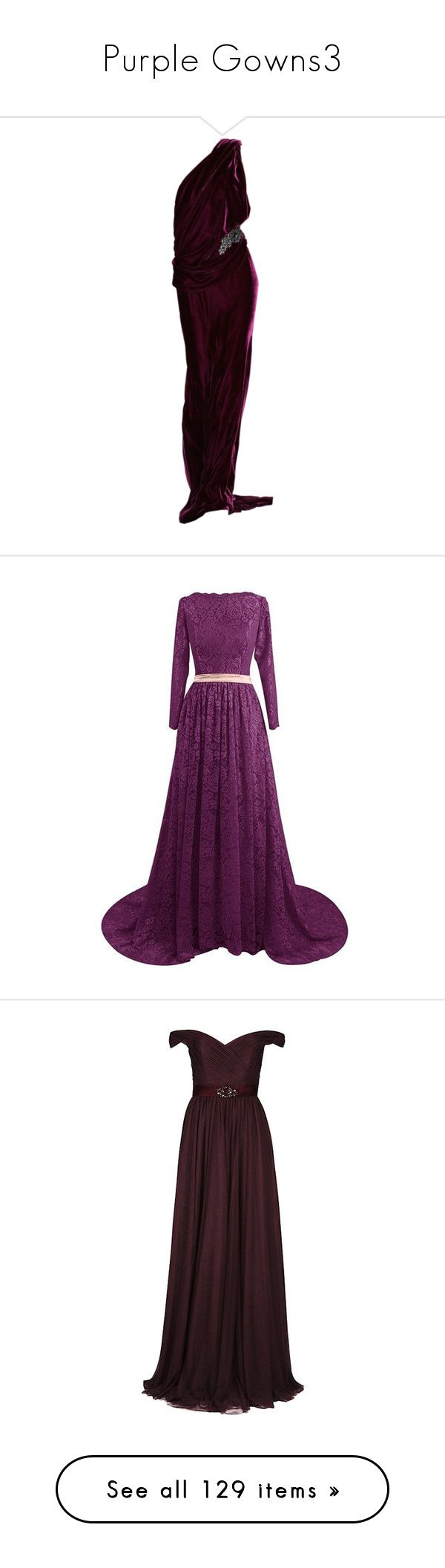 """""""Purple Gowns3"""" by kingcrimson ❤ liked on Polyvore featuring dresses, gowns, doll parts, black gown, purple lace dresses, lace gown, prom ball gowns, long sleeve prom dresses, purple gown and long dresses"""