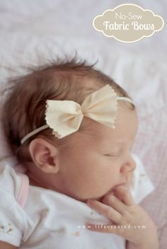 Easiest fabric bows tutorial around! These no sew bows are my favorite! So cute and the perfect way to use up fabric scraps. How to make fabric bows.