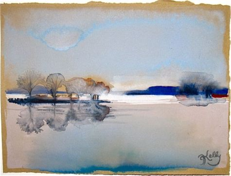 Mists on the Hudson River - miniature watercolor riverscape by New York Artist Gretchen Kelly, painting by artist Gretchen Kelly