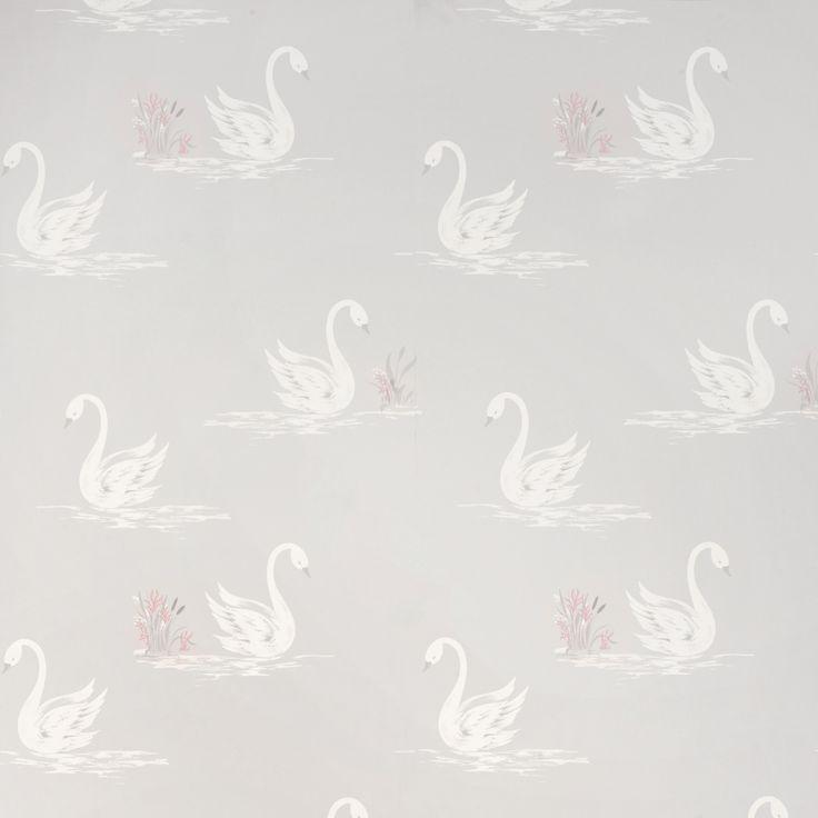 Laura Ashley Swans Silver Wallpaper