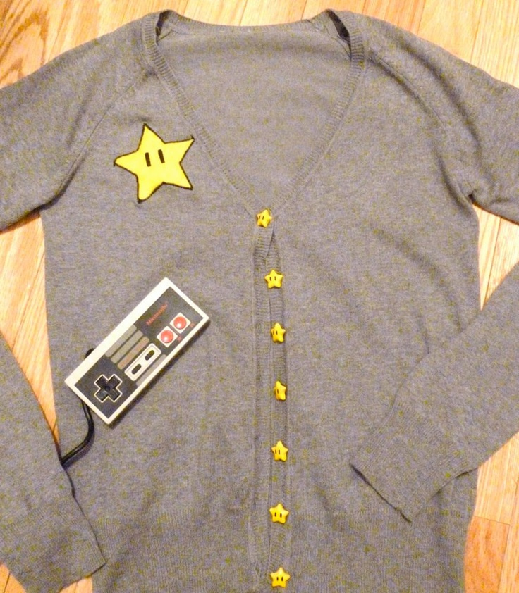 A cardigan of invincibility! #StarTime #Mario #Gaming: Invinc Stars, Geeky Geek, Stars Buttons, Mario Inspiration, Geek Gamer, Cardigans Games, Gamer Girls Fashion, Mario Cardigans, Inspiration Cardigans