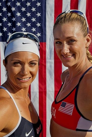 Team USA's Misty May-Treanor and Kerri Walsh-Jennings smile for the camera in front of the red white and blue. Learn more about these two at att.com/myjourney. #teamUSA #myjourney #London2012    Photo by Dave Mead