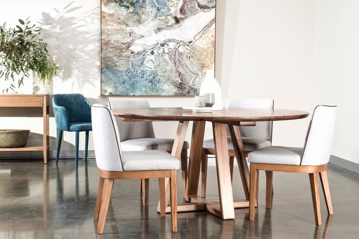 Get a contemporary look in your dining room with the Vista round dining table and Kingston  chairs. Hawkesbury console table, teal velvet occasional chair and canvas also available. urbanrhythm.com.au
