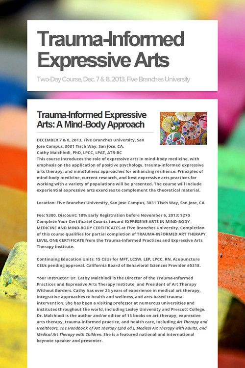 expressive arts coursework Through the service-learning experience the expressive art student  wide variety of coursework  (expressive and therapeutic arts major only) this.