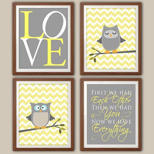 Nursery Art Print - Chevron Owl Nursery - Nursery Quote - Owl Nursery Decor - Gray And Yellow Nursery Art - Set Of Four Prints, $30.00