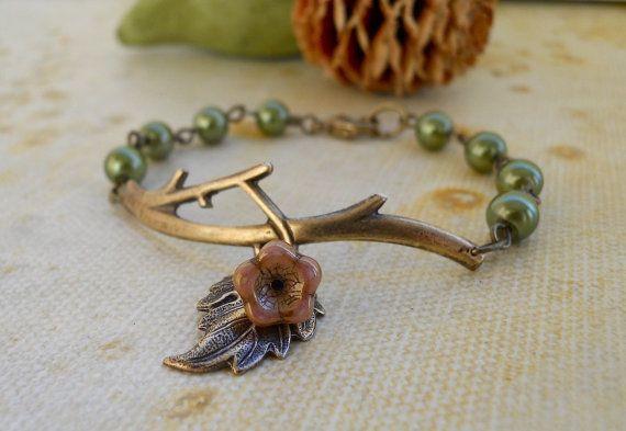 Free Shipping Branch Bracelet Olivine Brass Twig  by BeadsStory $19.00