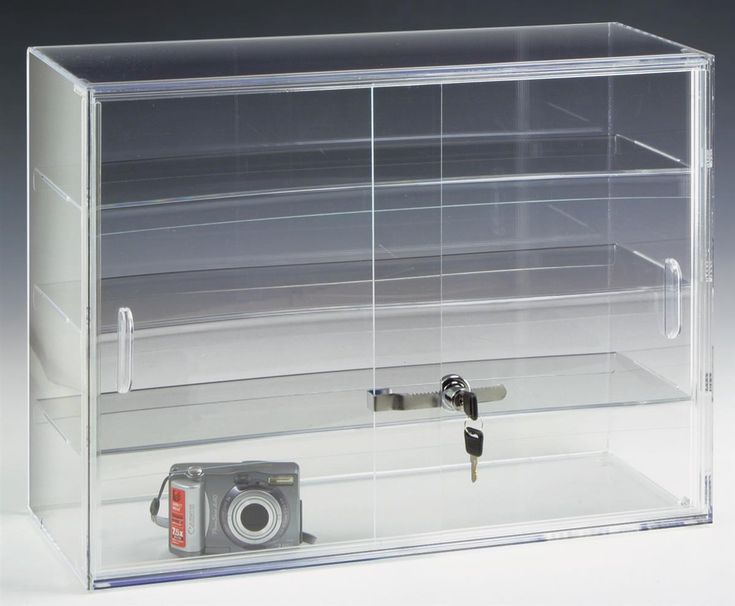 Vintage Acrylic Countertop Display Case w Shelves u Sliding Locking Doors