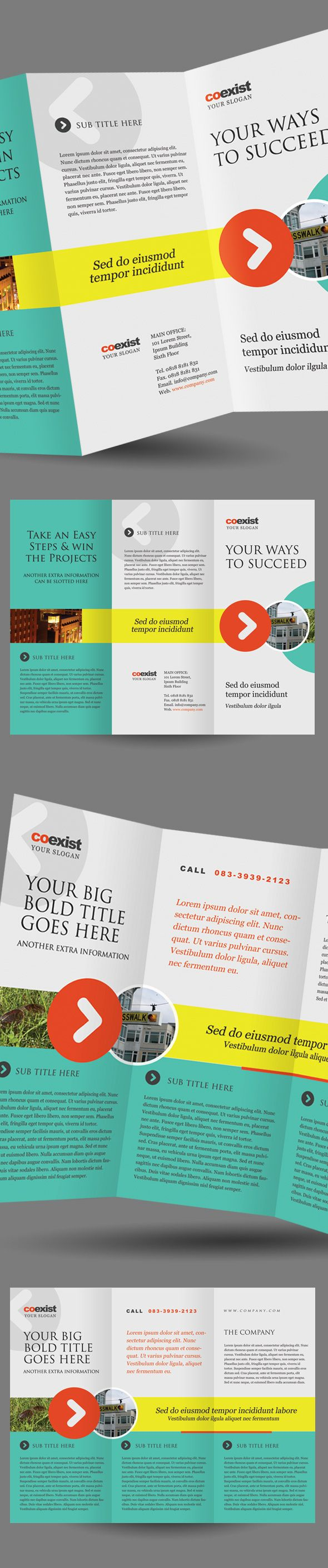 cool layout with movement accross panels...love - kb Coexist Trifold Brochure Template by Kinzi Wij, via Behance