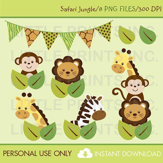 Safari Jungle Animal Clip Art INSTANT by LittlePrintsParties, $5.00