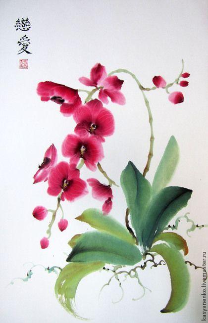 Купить или заказать Розовая орхидея в интернет-магазине на Ярмарке Мастеров. Прекрасная орхидея фаленопсис украсит самый изысканный интерьер! Картина оформлена в красивую раму цвета топленого молока с золотой отделкой. Иероглифы на картине - две любви, духовная и физическая.
