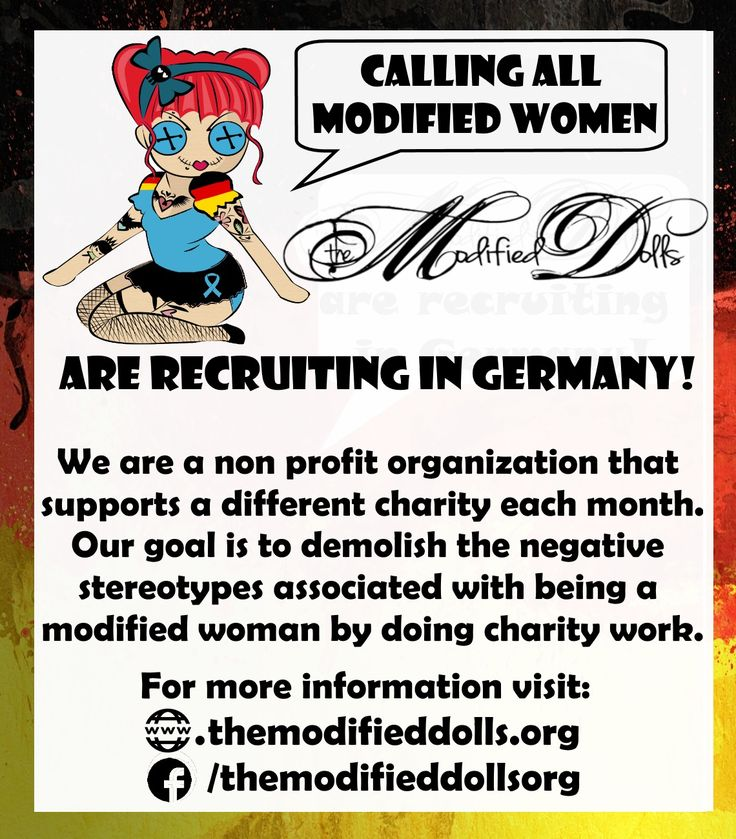 Calling all modified women in #Germany, The Modified Dolls are recruiting new members in your area! We are seeking more modified ladies with a good attitude to help us make a difference! :) For more information and to apply, visit our Facebook page or website: http://www.themodifieddolls.org/be-a-doll/ #ModifiedDolls #ModifiedWomen #recruiting #tattoos #piercings #acceptance #ChallengingStereotypes #SupportingCharities #volunteering #fundraising #RaisingAwareness #NonProfit…