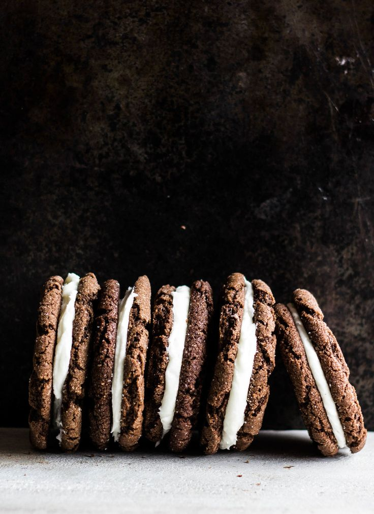 Chocolate Sugar Cookie Sandwiches with Peppermint Cream