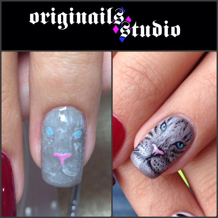 Tiger nail art handpaint freehand
