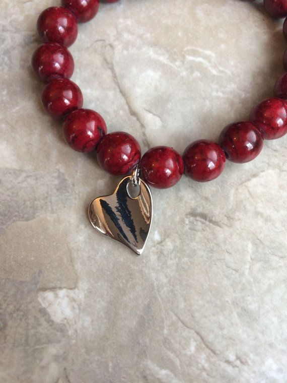 Valentine's Day beaded red bracelet by GalaxyJewelryShop on Etsy