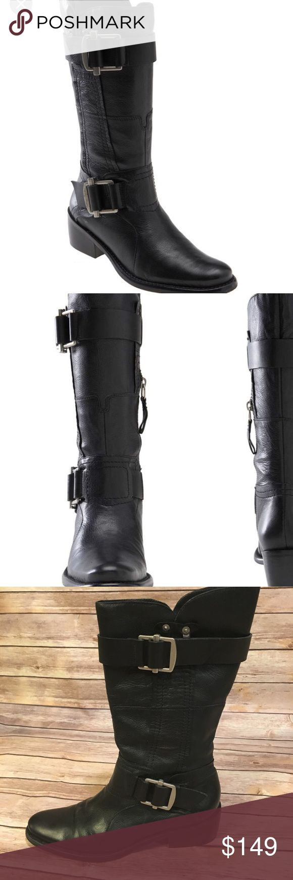 """Vera Wang Lavender Label Leather biker boots Black biker boot """"Chantel"""" 100% leather. Wide buckle straps gives it a stylish edgy biker look. Dipped collar and thick block heel. Pull on style with partial side zipper. Heel height approx 1 3/4"""" Vera Wang Lavender Label Shoes Combat & Moto Boots"""