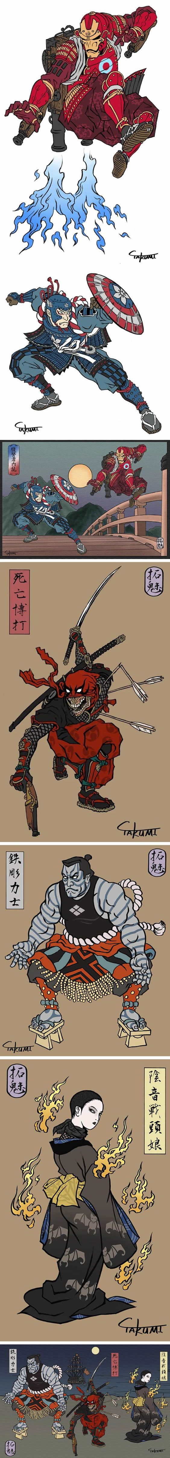 Artist reimagined marvel heroes in ancient Japanese art style