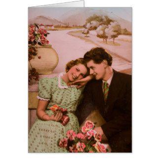 Casal do vintage, fotografia romântica cartão comemorativo