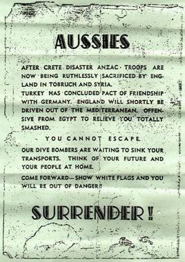 Photo of a actual surrender sign dropped german bombers over tubruk. Australia soldiers were fighting to grab a souvenier