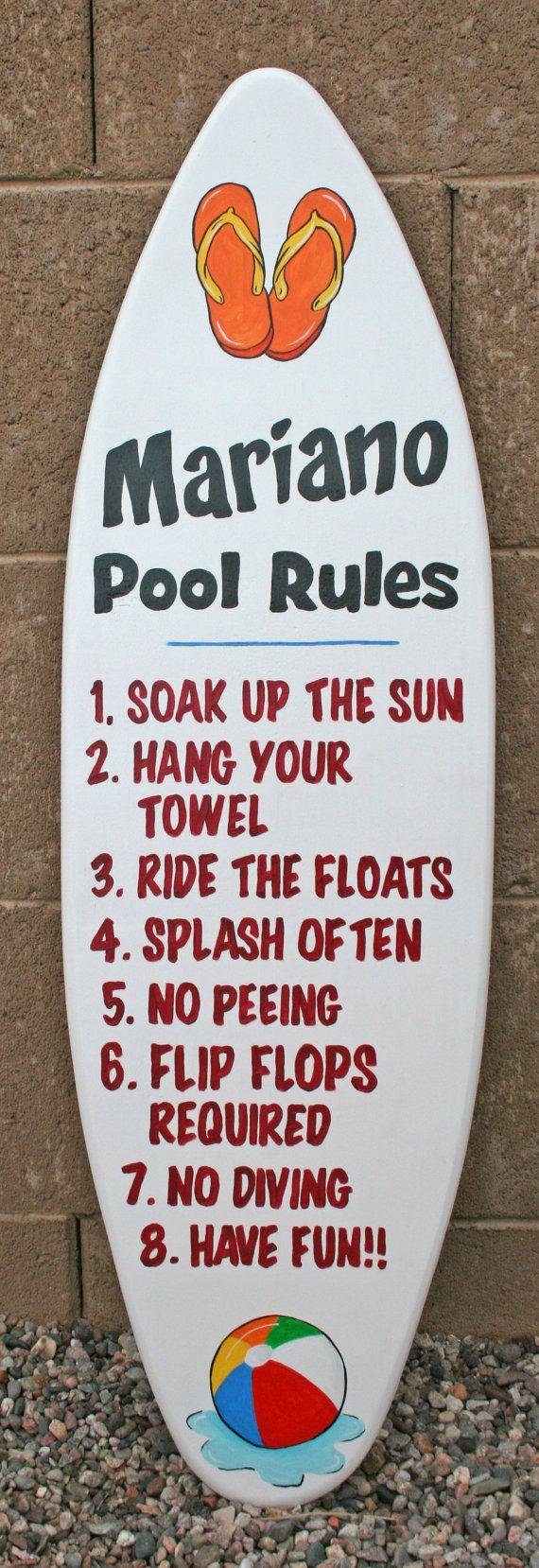 Mini surfboard wall art, Pool Rules Sign, custom, personalized, pool and beach decor