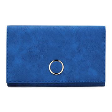 Royal Blue Leather-look Metal Ring Accent Clutch Bag with Shoulder Strap