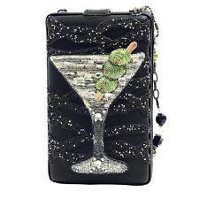Mary Frances Handbag Shaken Martini Drink Black Beaded Bead Purse Shoulder Bag