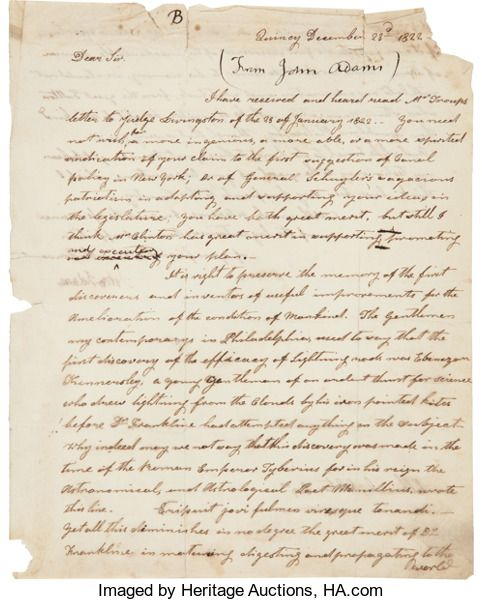 Autographs:U.S. Presidents, John Adams Letter Signed. Two pages (recto and ver...
