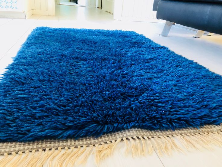 Excited to share the latest addition to my #etsy shop: Modernist wool rya rug. Bluish vintage crafts. Scandinavian midcentury modern.