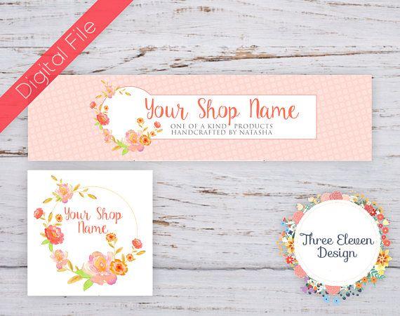 Coral Floral Etsy Shop Branding