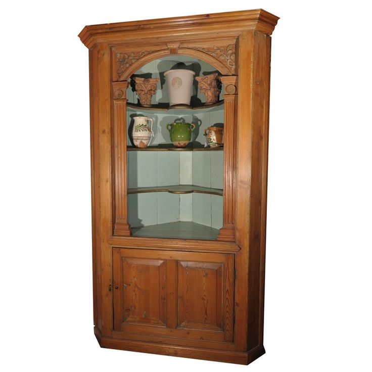 Marvelous English Corner Cupboard Shelving Cabinet Of Pine From The Georgian Era
