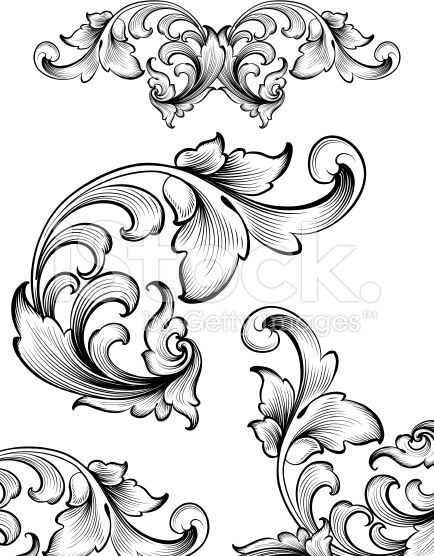 Intricate Flourish Set royalty-free stock vector art
