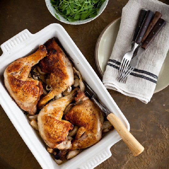 Alice Waters' brilliant recipe for Roast Chicken with 40 ~ yes 40! ~ Garlic Cloves... an easy and flavorful way to feed holiday guests.