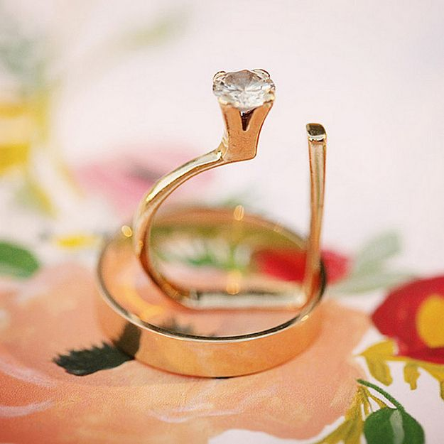 Just everything about this insanely avant-garde ring. | 40 Vintage Wedding Ring Details That Are Utterly To Die For