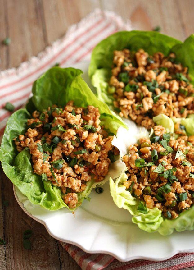 Wraps de lechuga con pavo molido. | 20 Recetas de cenas saludables que puedes hacer en 20 minutos
