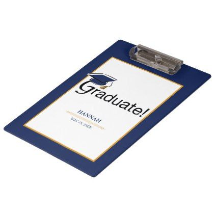 Congratulations Graduate Hat Tassel Blue Gold Clipboard - diy cyo personalize design idea new special