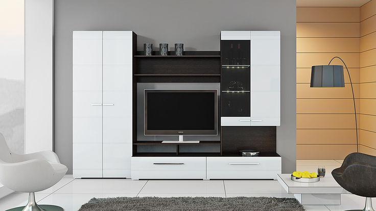 Компактная модель в стильном оформлении идеальна для небольших гостиных. Благодаря эффектному контрасту белых глянцевых деталей фасада со структурным рисунком древесины «Венге Линум» насыщенных тёмных тонов стенка «Вега» визуально расширяет пространство. В комплект входят вместительные, но компактные элементы — TV-тумба для телевизора большой диагонали, распашной шкаф для белья и одежды, открытые полки, универсальная секция с витринным отделением. Полки приобретаются дополнительно