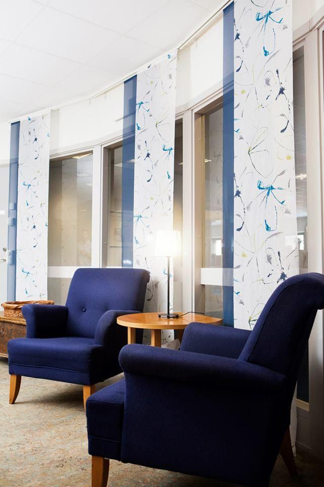 Panelgardiner på Panela gardinskena. Levererat av Lingbo Textilinredning AB