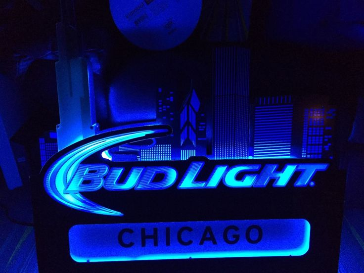 Large Bud Light Beer Chicago Skyline Neon Bar Sign Sears Tower Cubs Blackhawks