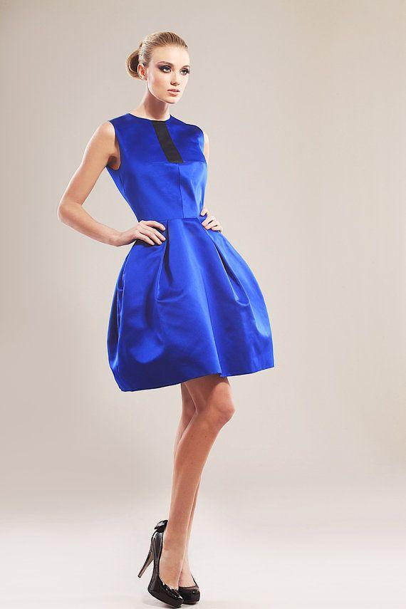 Vestito raso blu blu