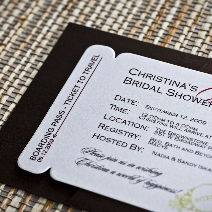 wedding shower invitations omaha%0A Boarding Pass Invitation or Save the Date Design Fee  Passport Stamps  Design