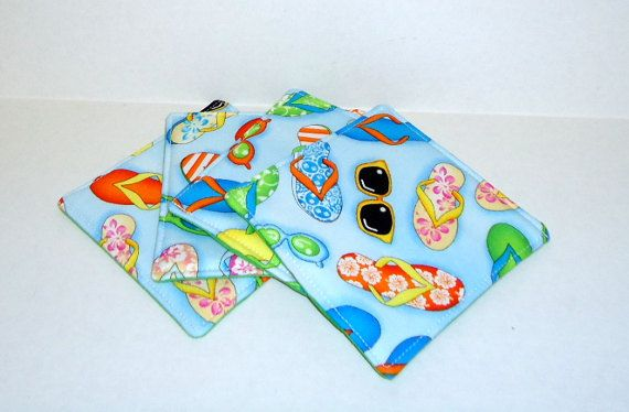 Flip Flops and Sunglasses  Insulated Coasters by VABeachQuilter, $8.95